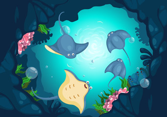 Illustration of sea underwater background