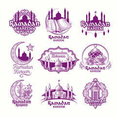 Set vector purple illustrations, sign for Ramadan Kareem with lantern, towers of mosque, crescent with arabic pattern isolated on white