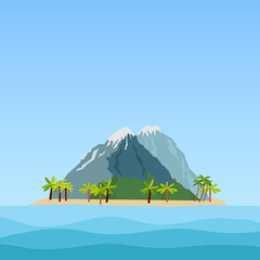 Tropical island with palm trees and mountains in the ocean