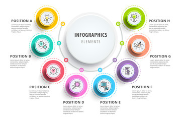 Business 8 step process chart infographics with step circles. Circular corporate graphic elements. Company presentation slide template. Modern vector info graphic layout design. Wall mural
