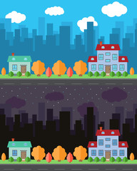 Vector city with two cartoon houses in the day and night. Summer urban landscape. Street view with cityscape on a background