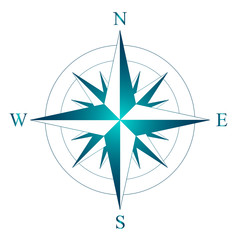 wind rose with the designation of North, South, West and East, vector