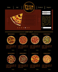 Web site template with varieties of pizza