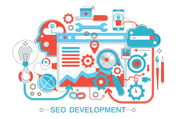 Modern Flat thin Line design SEO and development concept for web banner website, presentation, flyer and poster.