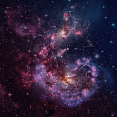 Spiral galaxy and space nebula. Elements of this Image Furnished by NASA