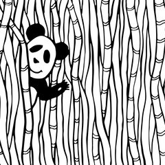 Cute panda in the bamboo forest. Coloring book page. Vector kids illustration