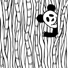 Funny panda in the bamboo forest. Coloring book page. Vector kids illustration
