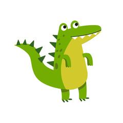 Cute cartoon crocodile character standing vector Illustration