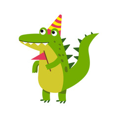 Cute cartoon crocodile character wearing party hat standing and holding pennant vector Illustration