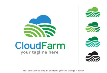 Cloud Farm Logo Template Design Vector, Emblem, Design Concept, Creative Symbol, Icon