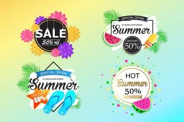 Set of summer sale background, banner, flyer, wallpaper.
