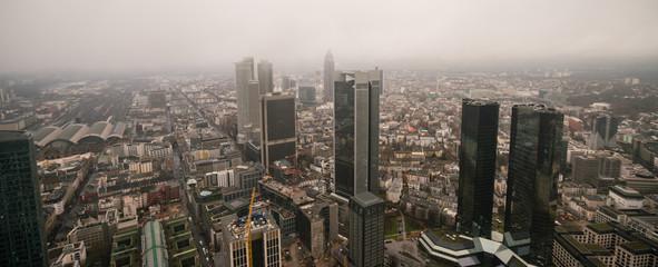 Frankfurt aerial view at foggy day