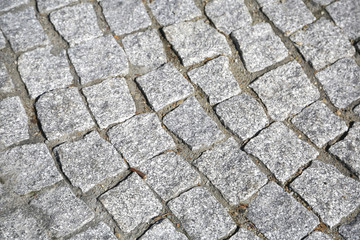 Texture of old cubic cobblestone