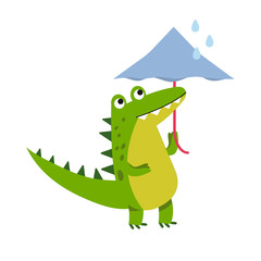 Funny cartoon crocodile character walking with umbrella vector Illustration
