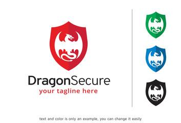 Dragon Secure Logo Template Design Vector, Emblem, Design Concept, Creative Symbol, Icon