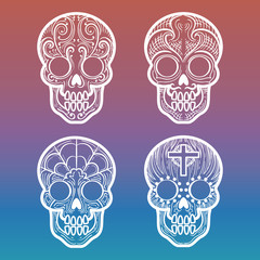 Calavera or mexican decortive skull on colorful background, vector illustration
