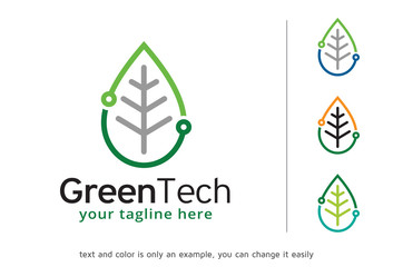 Green Tech Logo Template Design Vector, Emblem, Design Concept, Creative Symbol, Icon