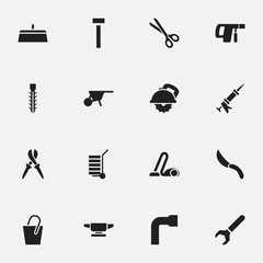 Set Of 16 Editable Equipment Icons. Includes Symbols Such As Build Fastener, Cutter Machine, Screw Wrench And More. Can Be Used For Web, Mobile, UI And Infographic Design.