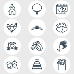 Vector Illustration Of 12 Engagement Icons. Editable Pack Of Brilliant, Calendar, Couple And Other Elements.