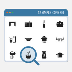 Set Of 12 Editable Cooking Icons. Includes Symbols Such As Desk, Prepare Meal, Salt And More. Can Be Used For Web, Mobile, UI And Infographic Design.