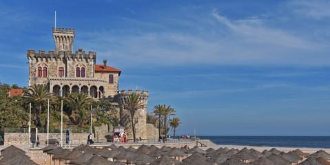 Beach and castle of Estoril, Portugal