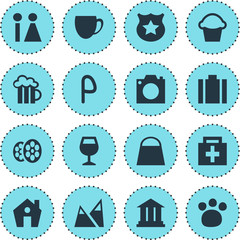 Vector Illustration Of 16 Check-In Icons. Editable Pack Of Cop , Landscape, Handbag Elements.