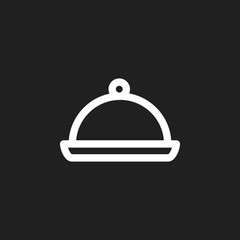 Vector Illustration Of Food Symbol On Salver Outline. Premium Quality Isolated Tray Element In Trendy Flat Style.