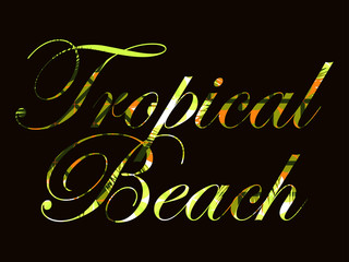 Tropical beach. Text with curls of palm leaves. Beautiful writing on a black background. Vector illustration