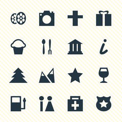 Vector Illustration Of 16 Travel Icons. Editable Pack Of University, Jungle, Cafe And Other Elements.