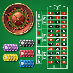 Online casino roulette and gambling table with chips vector set