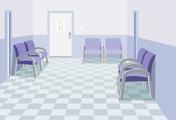 Interior at the work office. Empty waiting room in office. Private medical practice. The best   medical health care. Cartoon vector illustration in perspective.
