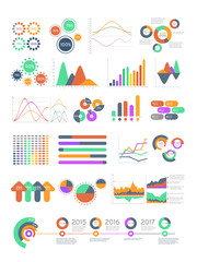 Multicolored vector infographics with different graphs and diagrams