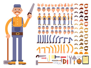 Cartoon man construction worker in jumpsuit vector character with big set of body parts. Creation constructor of different poses