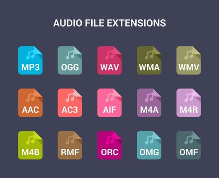 Audio file extensions. Flat colored vector icons