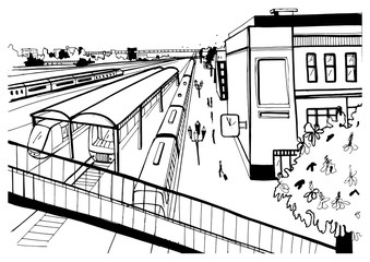 Monochrome sketch top view of railway station, platforms with passengers. Hand drawn vector illustration.