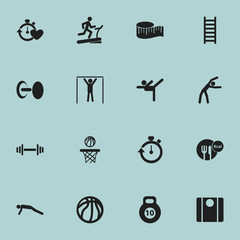 Set Of 16 Editable Active Icons. Includes Symbols Such As Basketball, Street Workout, Strength And More. Can Be Used For Web, Mobile, UI And Infographic Design.