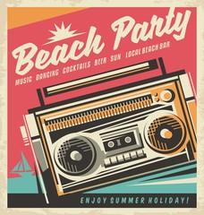 Beach party retro poster