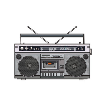 Old fashioned, retro style audio tape recorder, ghetto boom box from 90s, sketch vector illustration isolated on white background. Front view of hand drawn audio tape recorder, boom box