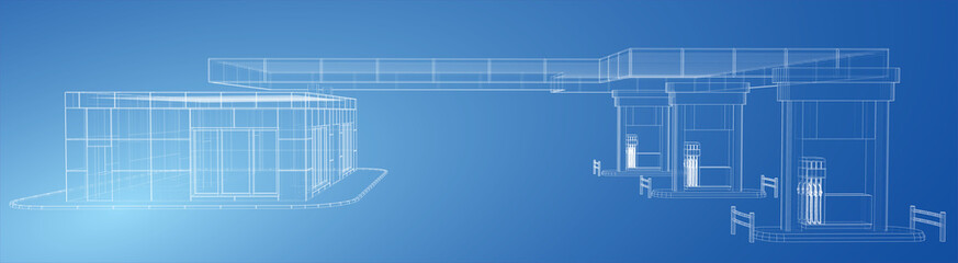 Gas Station. Wire frame vector illustration