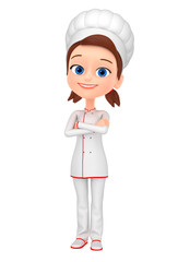 3d render illustration. Girl chef crossed her arms over her chest.