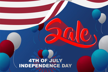 Sale american independence day background, for greeting card and wallpaper