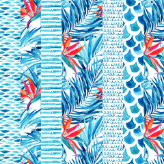 Watercolor textured striped seamless pattern.
