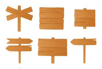 Set of different wooden signboards, pointers. Colorful empty signposts collection. Vector illustration in cartoon style.