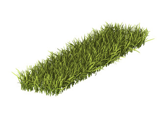 3D Rendering Patch of Grass on White