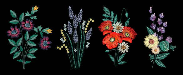 Set of embroidery bouquet on black background. Different flower compositions, wildflowers. Folk line trendy pattern for clothes, dress, decor. Colorful satin stitch floral design.