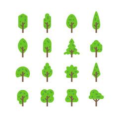 Flat design tree set