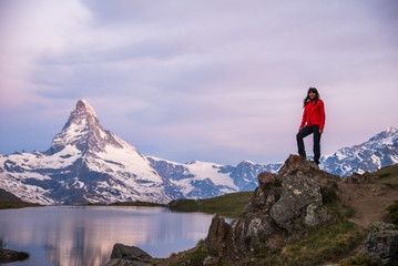 Girl admiring the Alps, Matterhorn Peak, June 2017