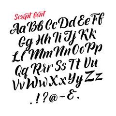 Handwritten latin alphabet. Cursive black letters. Vector fonts isolate on white background