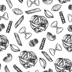 Italian pasta hand drawn sketch. Different kinds of pasta.  Vector seamless pattern.  Vintage style