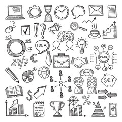 Hand drawn business icon set. Vector doodles illustrations isolate on white background